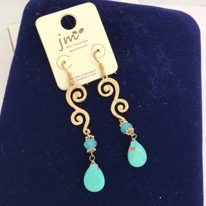 NWT Dangle Gold /Turquoise Semi Precious  Earrings